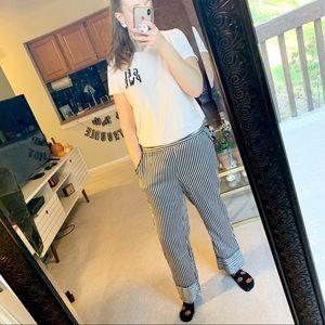 Who What Wear Black & White Striped Pants